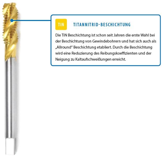 Übersicht der 3 Oberflächenbeschichtiungen bei Maschinengewindebohrern: Titannid-Beschichtung (TiN), Chromaluminium-Beschichtung (AlCro) und Aluminium Titanitrid-Beschichtung (AlTiN)