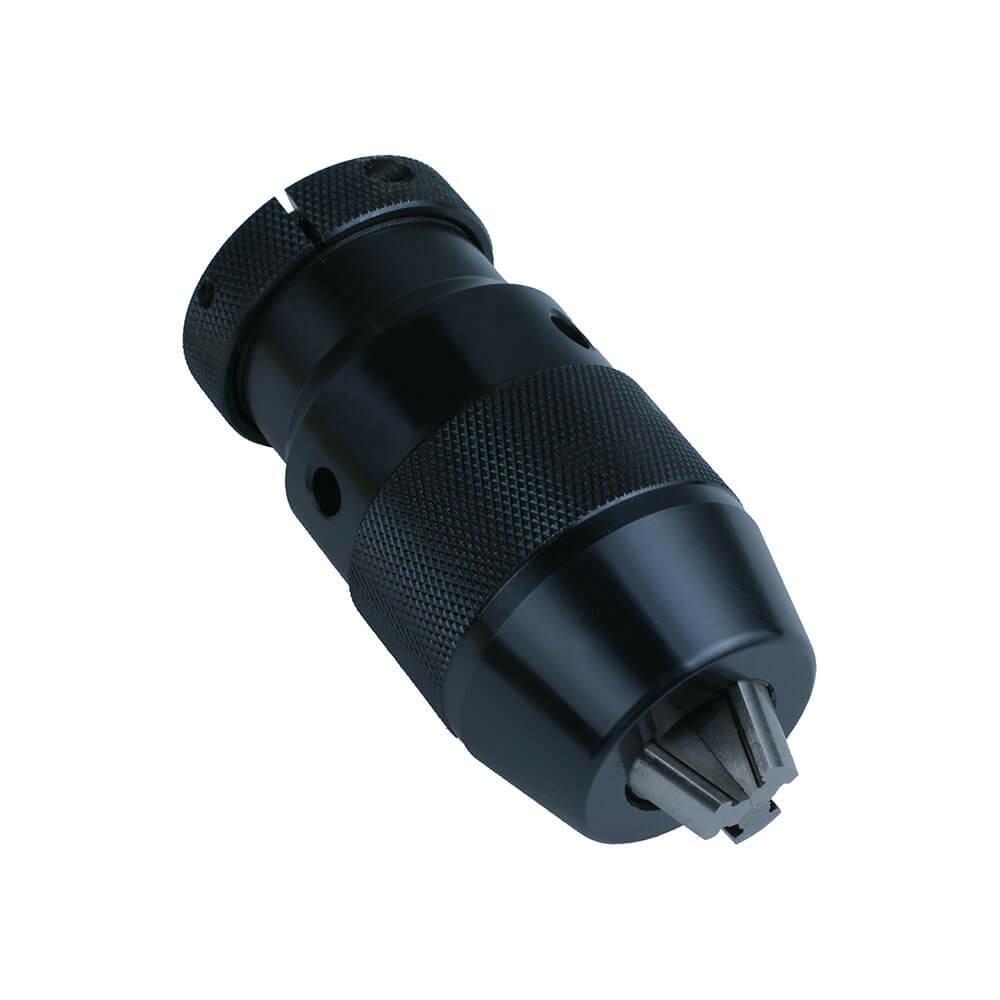 Bohrfutter: schwarzer Schnellspann-Bohrfutter für Maschinen mit Aufnahme, Spannweite, Tolerantangaben