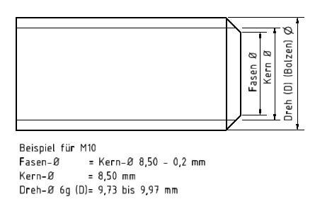 Vorarbeitsdurchmesser: Beispiel M 10 für den Fasendurchmesser, Kerndurchmesser und Bolzendurchmesser