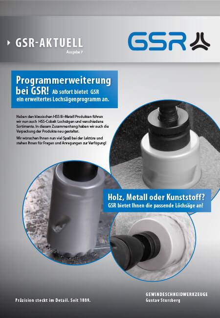 7. GSR Newsletter Cover: Lochsägen, Lochsägenaufnahmen, Bi Metall