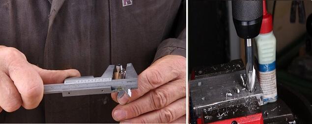 Senkvorgang beim Flachsenker Schritt 2: Flachsenker mit Hilfe einer Schieblehre messen