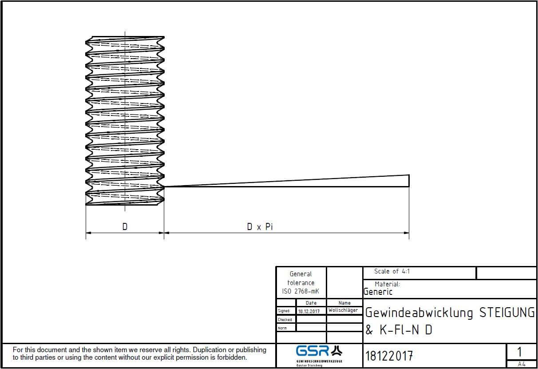 Technische Zeichnung eines Gewindebohrers: Gewinde Nenndurchmesser, Gewinde Flankendurchmesser und Gewinde Kerndurchmesser