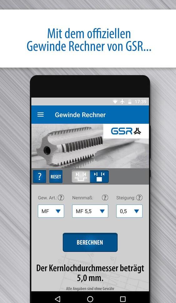 Screenshot der GSR Gewinde Rechner App: Kernlochdurchmesser Berechnung