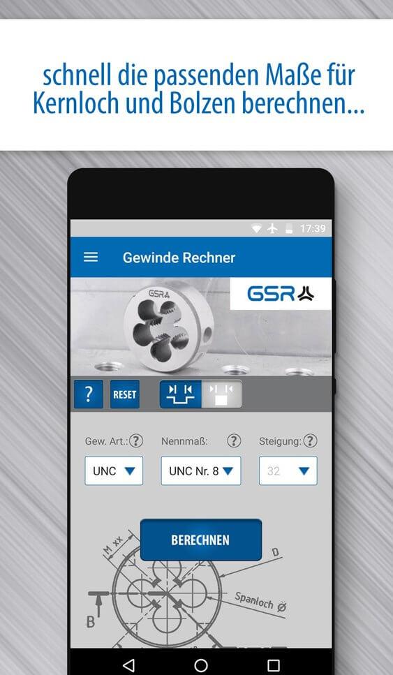 Screenshot der GSR Gewinde Rechner App: Vorarbeitsdurchmesser für Außengewinde berechnen