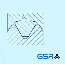 Technische Zeichnung: Unified National Coarse Thread (UNC) mit 60 Grad Flankenwinkel