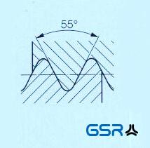 Technische Zeichnung: Britische Whitworth-Gewinde in Zoll angegeben mit 55 Grad Flankenwinkel